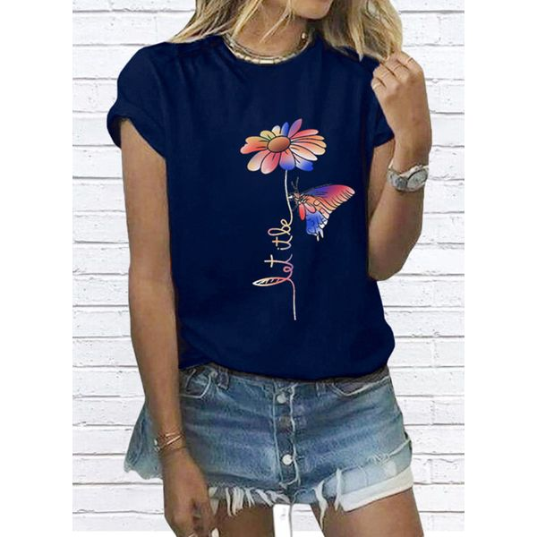 Floral Round Neck Short Sleeve Casual T-shirts (1685597611)