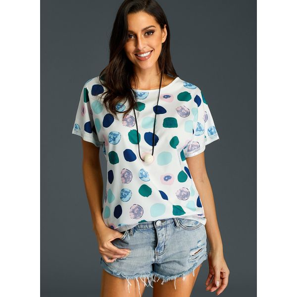 Floral Round Neckline Short Sleeve Blouses (01645382790) 5