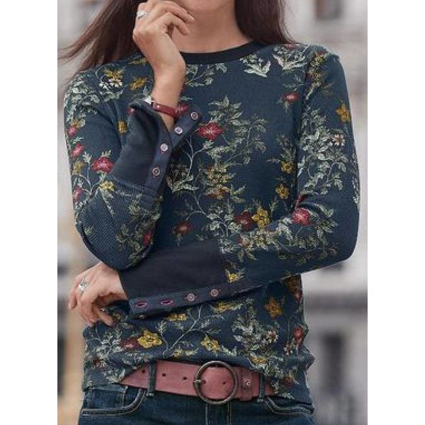 Floral Casual Round Neckline Long Sleeve Blouses (1645491337)