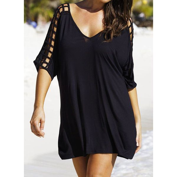 Polyester Solid Knotted Cover-Ups Swimwear (30015598685)