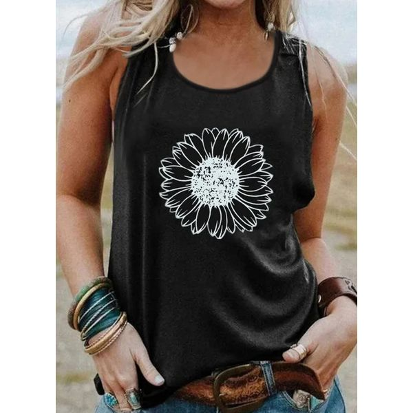Floral Round Neck Sleeveless Casual T-shirts (1685598168)