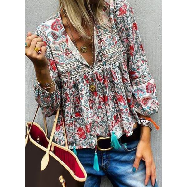 Color Block Casual V-Neckline 3/4 Sleeves Blouses (1645384103)