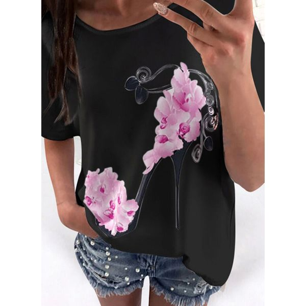 Floral Round Neck Short Sleeve Casual T-shirts (1685588302)