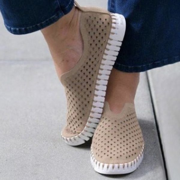 Women's Hollow-out Closed Toe Fabric Flat Heel Sneakers (1625597921)
