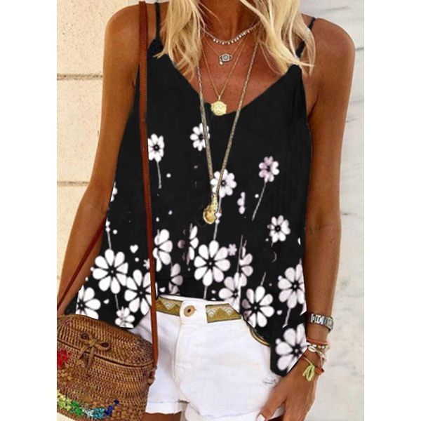 Floral Casual Camisole Neckline Sleeveless Blouses (1645586838)