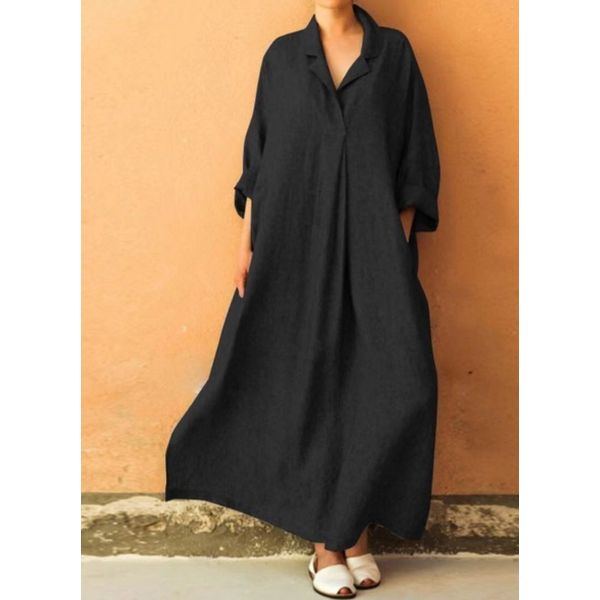 Plus Size Casual Solid Long Sleeve Maxi A-line Dress (30345525266)