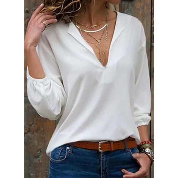 Solid Casual V-Neckline 3/4 Sleeves Blouses (1645598120)