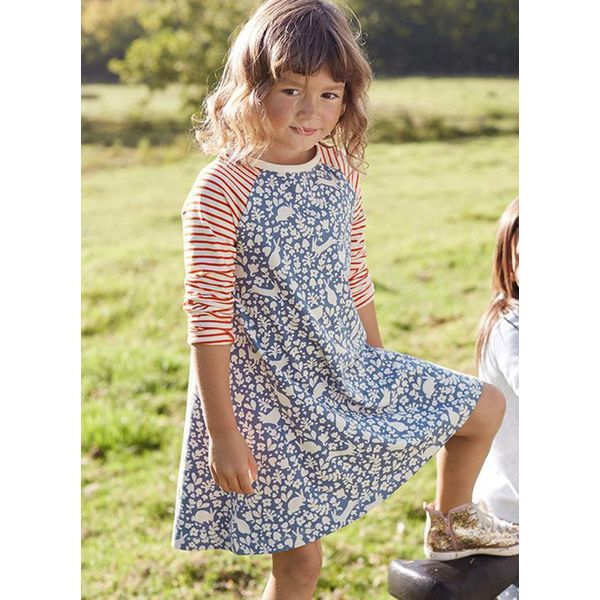 Girls' Sweet Floral Daily Long Sleeve Dresses (30135371145)