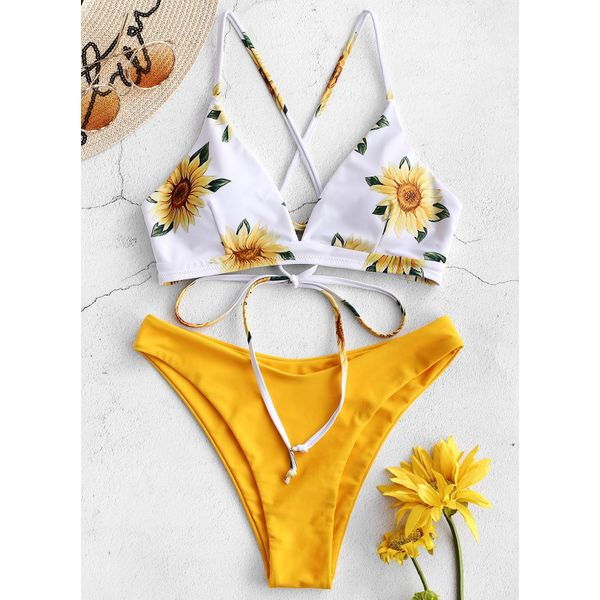 Polyester Knotted Floral Bikinis Swimwear (30015526744)