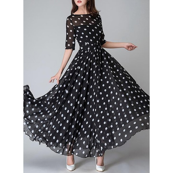 Polka Dot Half Sleeve Maxi X-line Dress (1955121362) 2