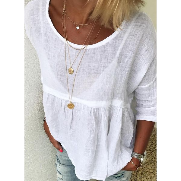 Solid Casual Round Neckline 3/4 Sleeves Blouses (1645407366)