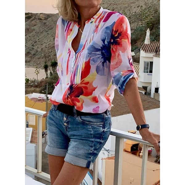 Color Block Casual V-Neckline 3/4 Sleeves Blouses (1645538726)