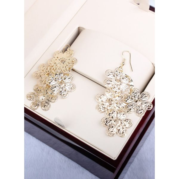 Floral No Stone Dangle Earrings (1855394328, Gold;silver