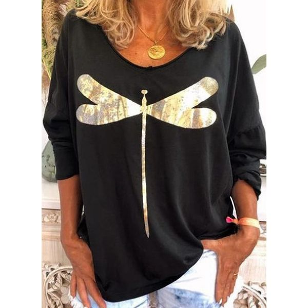 Animal Casual Round Neckline Long Sleeve Blouses (1645586941)