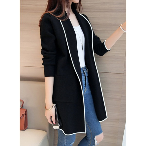 Long Sleeve Collar Pockets Coats (1715328426) 3