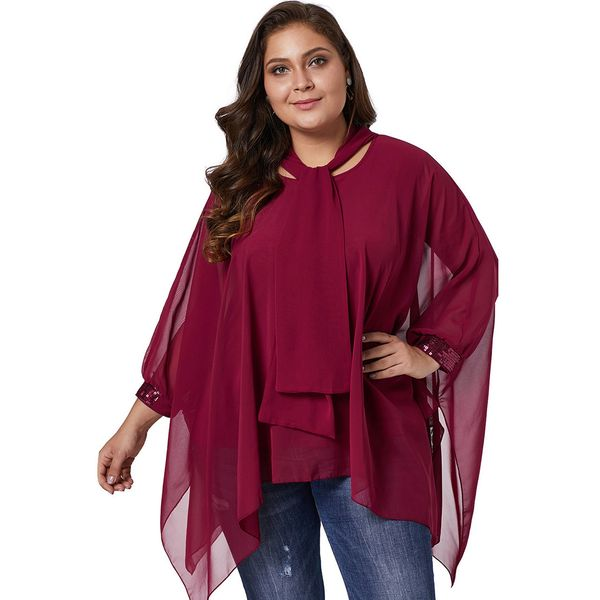 Plus Size Solid Casual Round Neckline Long Sleeve Blouses (1645382408) 9