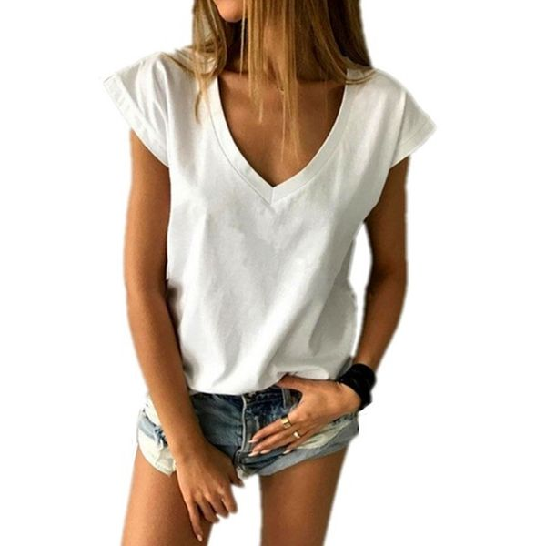 Solid V-Neckline Short Sleeve Casual T-shirts (1685381628) 6