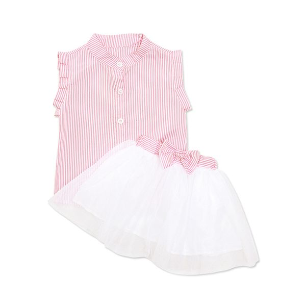 Girls' Casual Stripe Daily Sleeveless Clothing Sets (30145413299, Pink