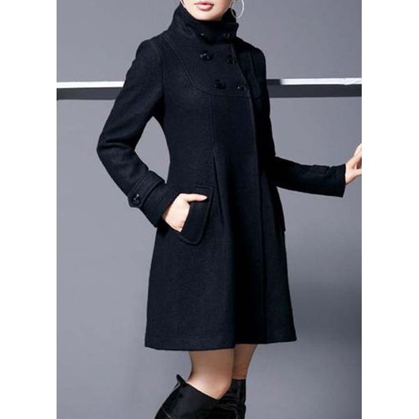 Long Sleeve Hooded Buttons Trench Coats (1715380951) 4