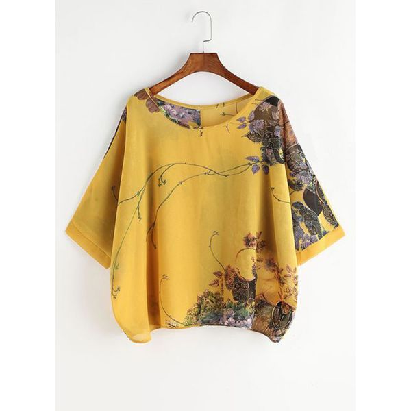 Floral Casual Round Neckline 3/4 Sleeves Blouses (1645434984)