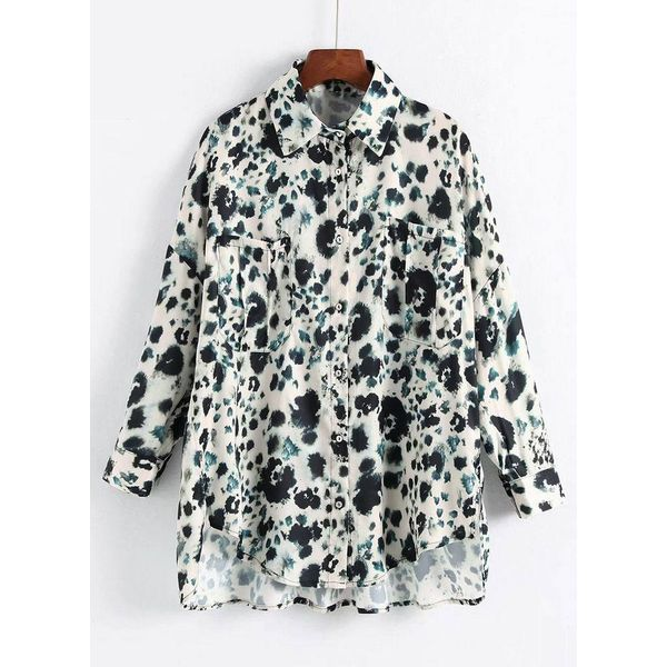 Plus Size Floral Casual Collar Long Sleeve Blouses (1645382971) 5