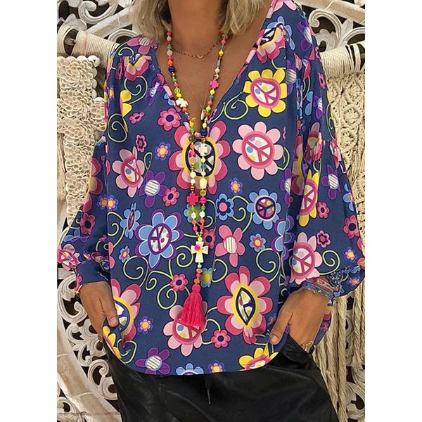 Plus Size Floral Casual V-Neckline Long Sleeve Blouses (1645375246) 3