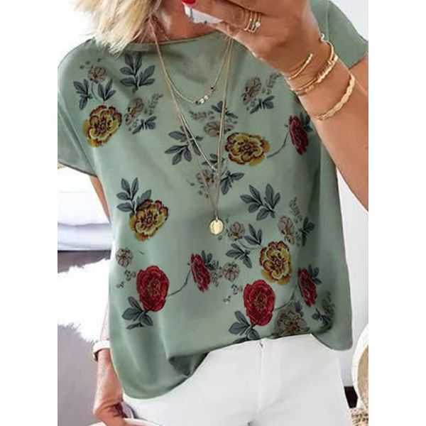 Floral Casual Round Neckline Short Sleeve Blouses (1645595406)