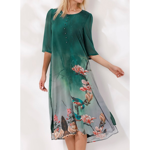 Floral Buttons Half Sleeve Midi Shift Dress (1955184768) 11