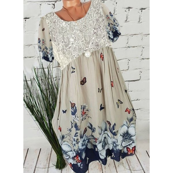 Casual Floral Tunic Round Neckline Shift Dress (1955415775)