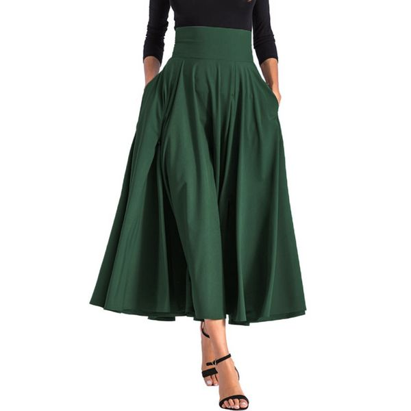 Solid Mid-Calf Casual Skirts (1725364706) 11