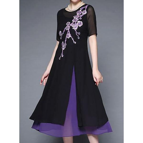 Casual Floral Tunic Round Neckline Shift Dress (1955542110)
