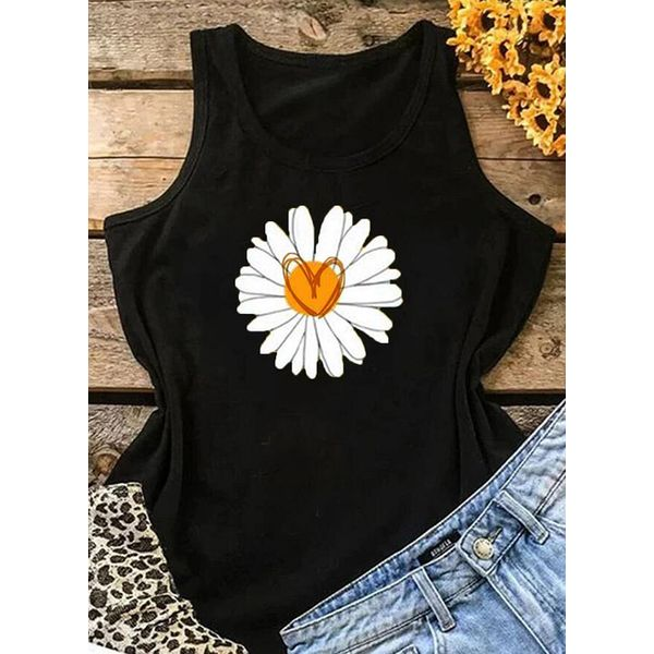 Floral Round Neck Sleeveless Casual T-shirts (1685587146)
