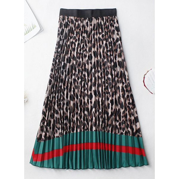 Leopard Mid-Calf Casual Pattern Skirts (1725597555)