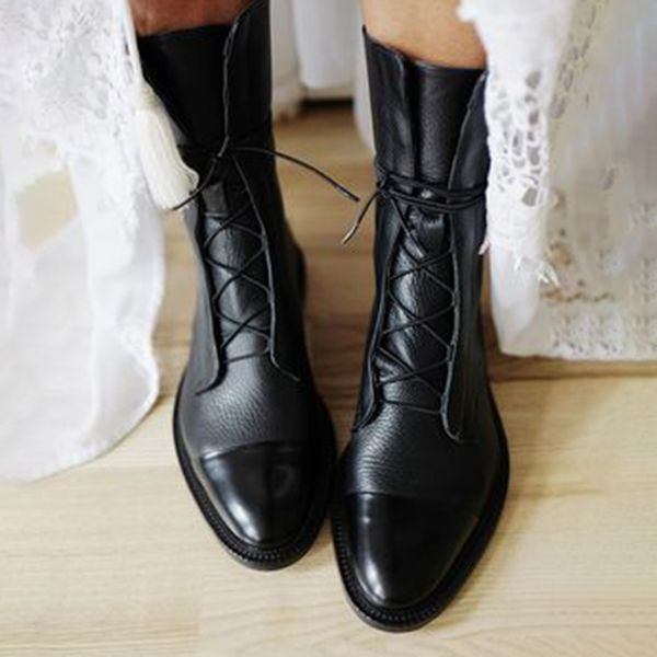 Women's Lace-up Round Toe Low Heel Boots (1625428892)