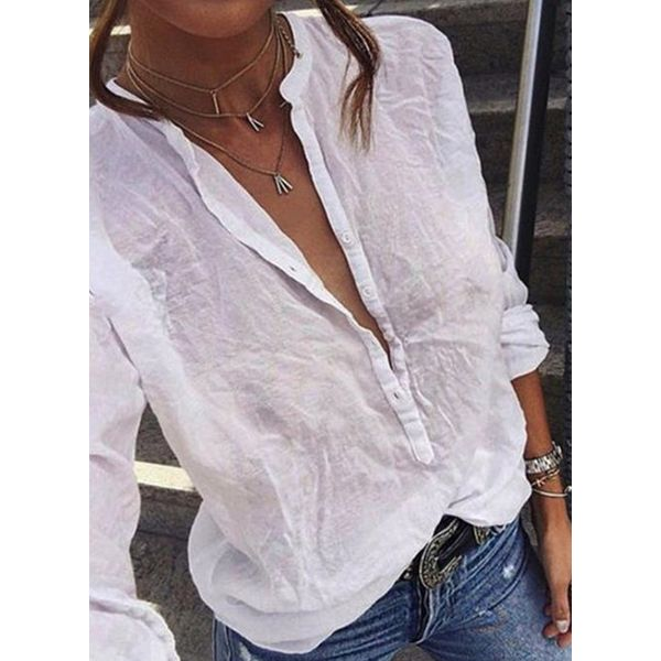 Solid Casual Round Neckline Long Sleeve Blouses (1645591176)