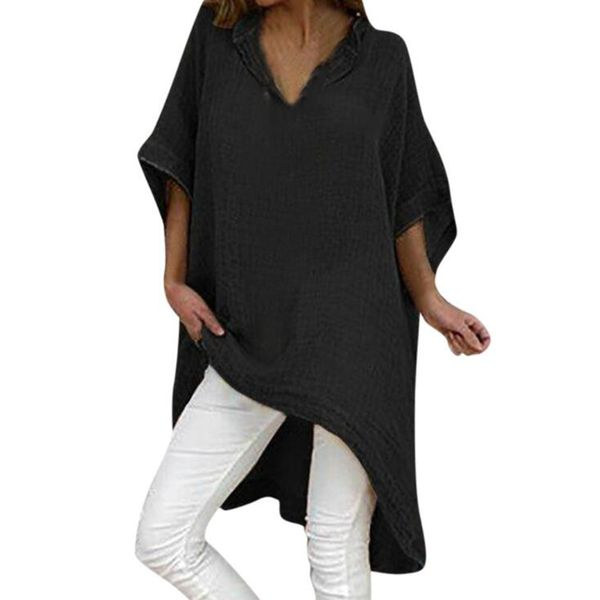 Plus Size Solid Casual V-Neckline 3/4 Sleeves Blouses (1645424145, Black;blue;green;khaki;pink