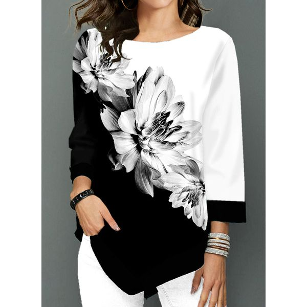 Floral Casual Round Neckline 3/4 Sleeves Blouses (1645452562)