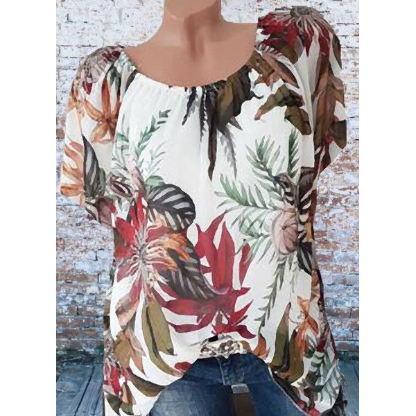 Floral Casual Round Neckline Short Sleeve Blouses (1645598842)