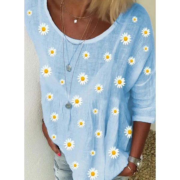 Floral Casual Round Neckline 3/4 Sleeves Blouses (1645579448)