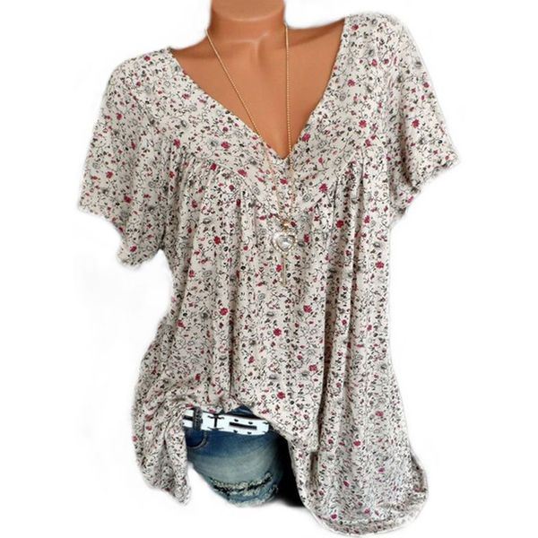 Floral Casual V-Neckline Short Sleeve Blouses (1645406680, Off-white;black;blue;burgundy;green;pink;red;yellow