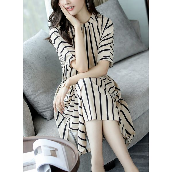 Stripe Pockets Half Sleeve Midi X-line Dress (1955381955)