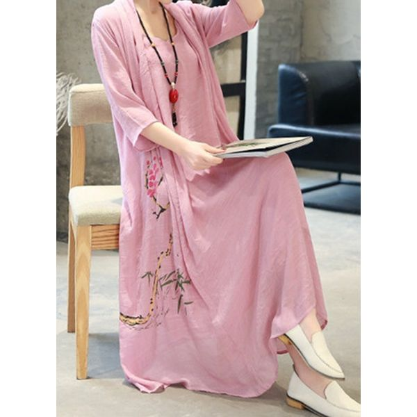 Casual Floral Tunic Round Neckline Shift Dress (1955504798)