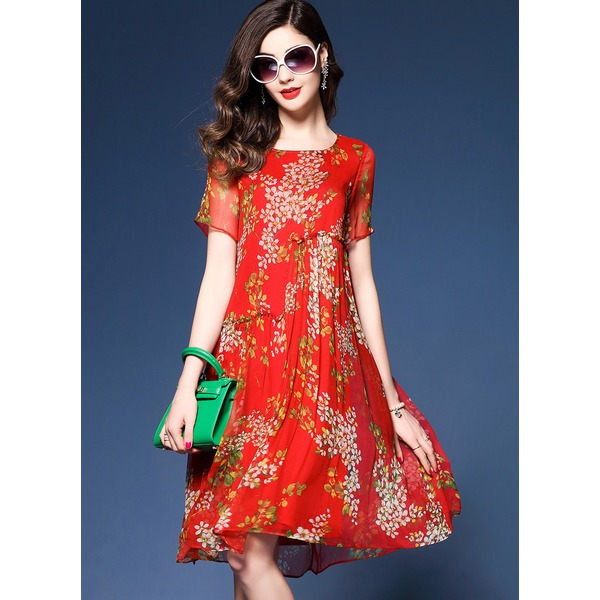 Floral Peasant Short Sleeve Knee-Length Shift Dress (1955260115) 4