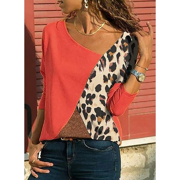 Color Block Casual V-Neckline 3/4 Sleeves Blouses (1645452556)
