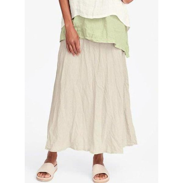 Solid Mid-Calf Casual Pockets Skirts (1725591023)