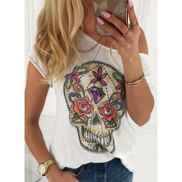 Character Oblique Neckline Short Sleeve Sexy T-shirts (1685586582)