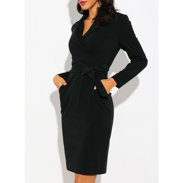 Solid Long Sleeve Knee-Length Sheath Dress (01955212898) 6