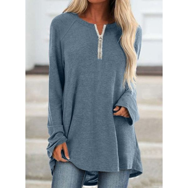 Solid Casual Round Neckline Long Sleeve Blouses (1645557176)