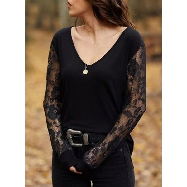 Solid Casual V-Neckline Long Sleeve Blouses (1645381480) 10