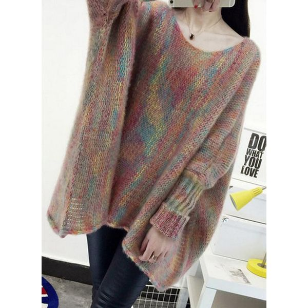 Boat Neckline Color Block Loose Long Shift Sweaters (1675377421) 4